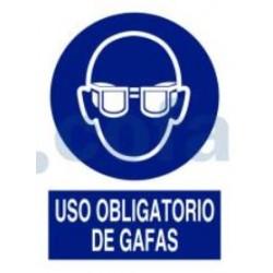 SEÑAL ADHESIVA DE USO OBLIGATORIO DE GAFAS 148X105 MM