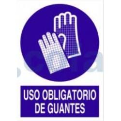 SEÑAL ADHESIVA DE USO OBLIGATORIO DE GUANTES 148X105 MM