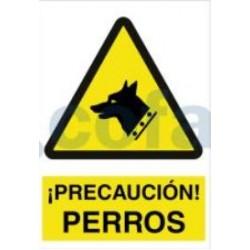 SEÑAL POLIESTILENO ¡PELIGRO PERROS! 297X210 MM