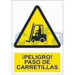 SEÑAL POLIESTILENO ¡PELIGRO! PASO DE CARRETILLAS 297X210 MM