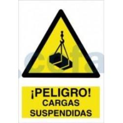 SEÑAL POLIESTILENO ¡PELIGRO! CARGAS SUSPENDIDAS 297X210 MM