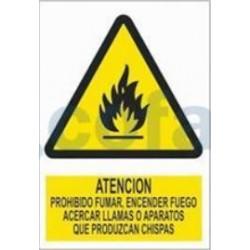 SEÑAL POLIESTILENO ATENCION, PROHIBIDO FUMAR, ENCENDER FUEGO, ACERCAR LLAMAS O APARATOS QUE PRODUZCAN CHISPAS 297X210 MM