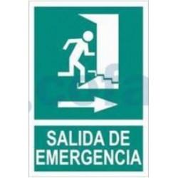 SEÑAL FOTOLUMINISCENTE SALIDA DE EMERGENCIA, PUERTA Y ESCALERA 297X210 MM