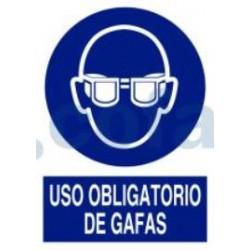 SEÑAL POLIESTILENO USO OBLIGATORIO DE GAFAS 297X210 MM