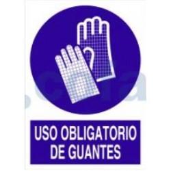 SEÑAL POLIESTILENO USO OBLIGATORIO DE GUANTES 297X210 MM