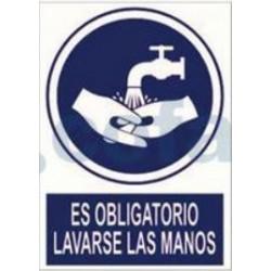 SEÑAL POLIESTILENO ES OBLIGATORIO LAVARSE LAS MANOS 297X210 MM
