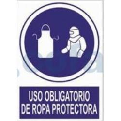 SEÑAL POLIETILENO USO OBLIGATORIO DE ROPA PROTECTORA 297X210 MM