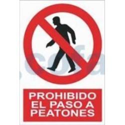 SEÑAL POLIESTILENO PROHIBIDO EL PASO A PEATONES 297X210 MM