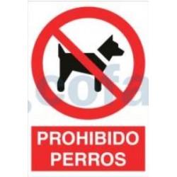 SEÑAL POLIETILENO PROHIBIDO PERROS 297X210 MM