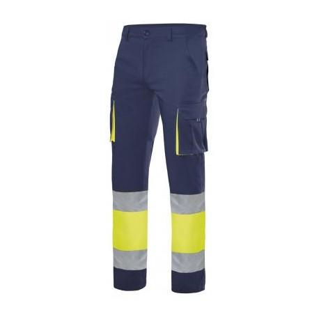 Pantalón stretch bicolor multibolsillos alta visibilidad Azul Navy